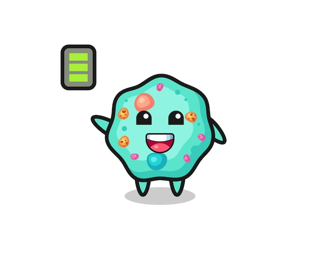 Personagem mascote da ameba com gesto enérgico, design de estilo fofo para camiseta, adesivo, elemento de logotipo