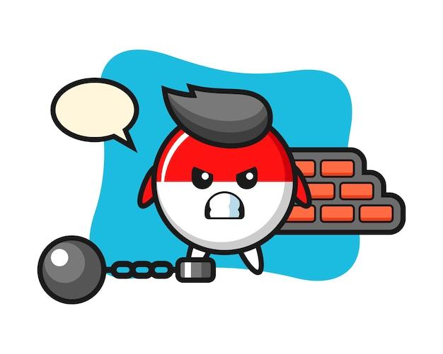 Personagem mascote da bandeira da indonésia como prisioneiro
