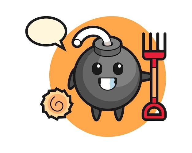 Personagem mascote da bomba como fazendeiro