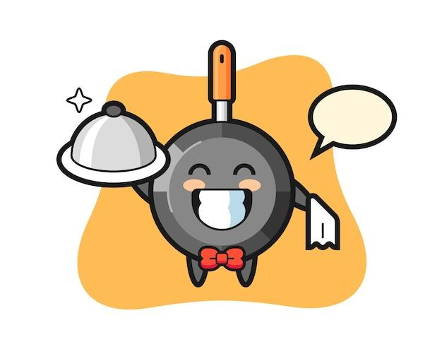 Personagem mascote da frigideira como garçom