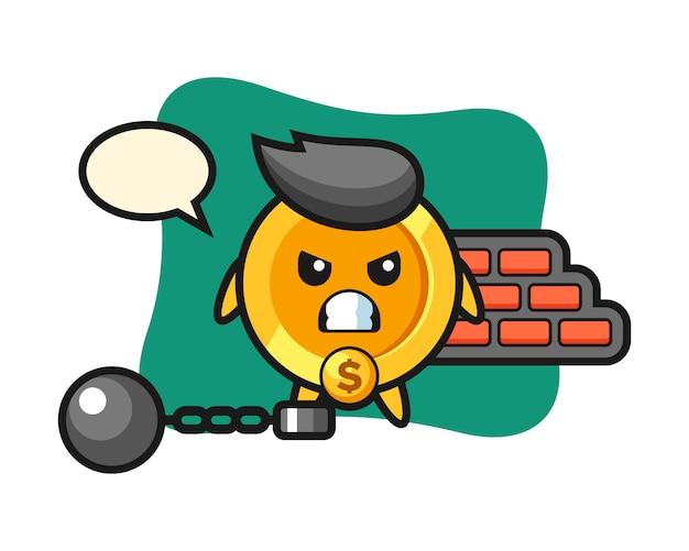 Personagem mascote da moeda de um dólar como prisioneiro