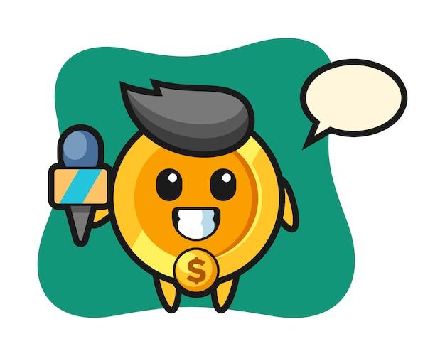 Personagem mascote da moeda de um dólar como repórter de notícias