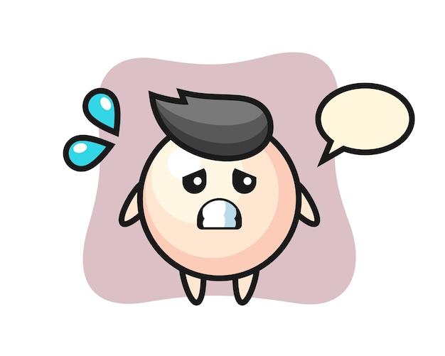 Personagem mascote da pérola com gesto de medo