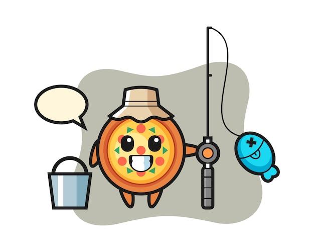 Personagem mascote da pizza como pescador
