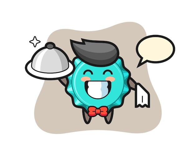 Personagem mascote da tampa de garrafa como garçom