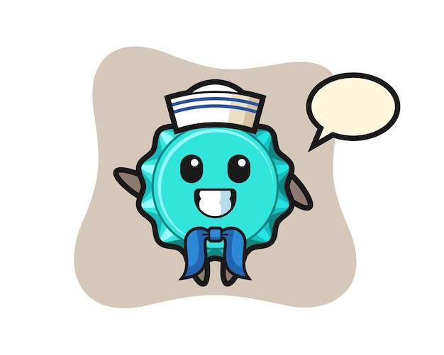 Personagem mascote da tampa de garrafa como um marinheiro