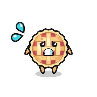 Personagem mascote da torta de maçã com gesto de medo, design de estilo fofo para camiseta, adesivo, elemento de logotipo