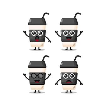 Personagem mascote da xícara de café fofa