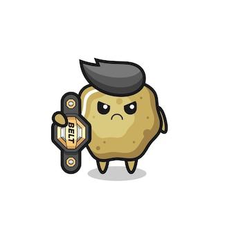Personagem mascote de banquinhos soltos como um lutador de mma com o cinto de campeão, design de estilo fofo para camiseta, adesivo, elemento de logotipo