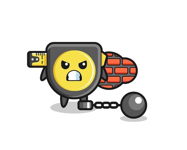 Personagem mascote de fita métrica como um prisioneiro, design fofo