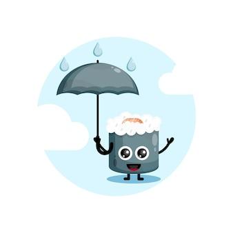 Personagem mascote de guarda-chuva de sushi