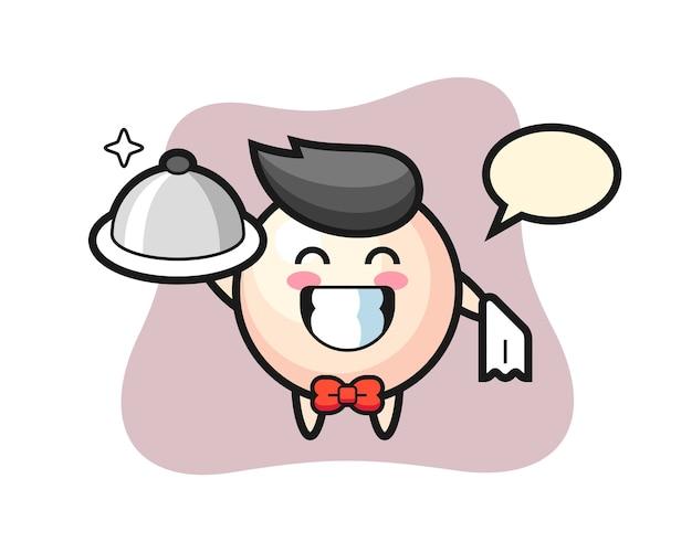 Personagem mascote de pérola como garçom