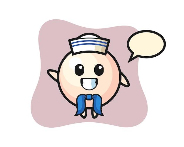Personagem mascote de pérola como um marinheiro