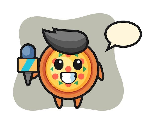 Personagem mascote de pizza como repórter de notícias