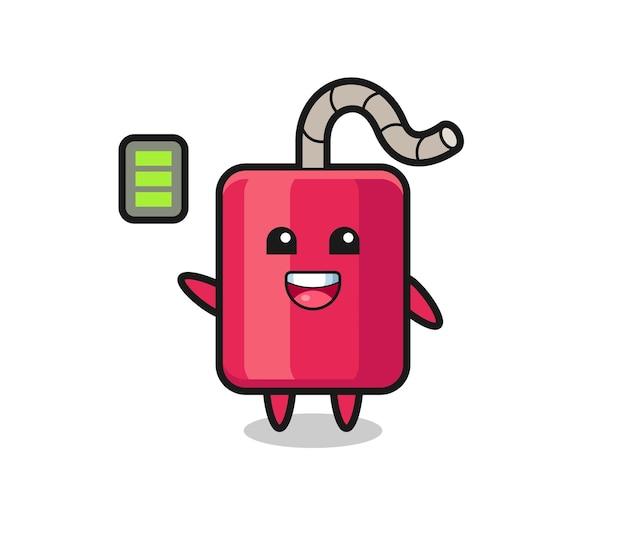 Personagem mascote dinamite com gesto enérgico, design de estilo fofo para camiseta, adesivo, elemento de logotipo