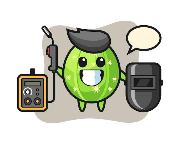Personagem mascote do cacto como soldador