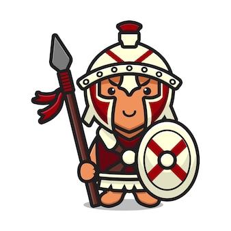 Personagem mascote do cavaleiro romano fofinho segurando o desenho de lança e escudo