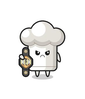 Personagem mascote do chapéu de chef como um lutador de mma com o cinto de campeão, design de estilo fofo para camiseta, adesivo, elemento de logotipo