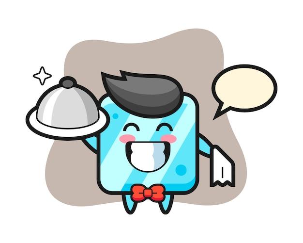 Personagem mascote do cubo de gelo como garçom