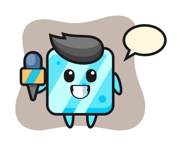 Personagem mascote do cubo de gelo como repórter de notícias