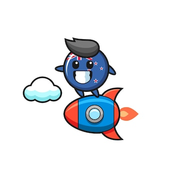 Personagem mascote do distintivo da bandeira da nova zelândia montando um foguete, design de estilo fofo para camiseta, adesivo, elemento de logotipo