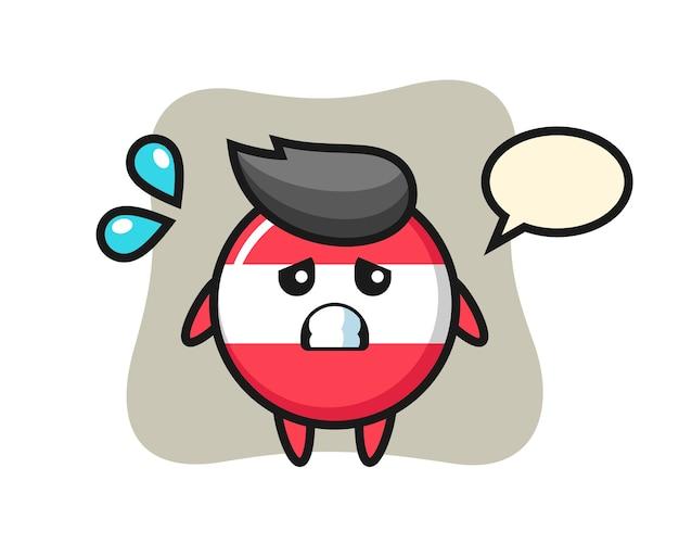 Personagem mascote do emblema da bandeira da áustria com gesto de medo