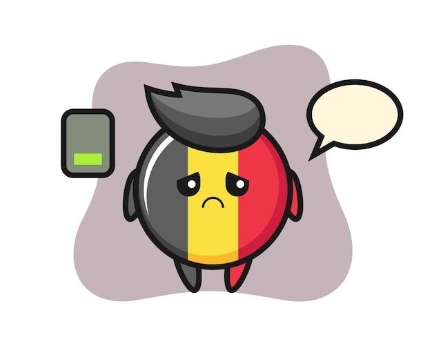 Personagem mascote do emblema da bandeira da bélgica fazendo um gesto cansado