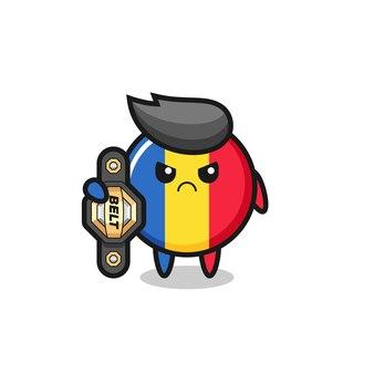 Personagem mascote do emblema da bandeira da romênia como um lutador de mma com o cinto de campeão, design de estilo fofo para camiseta, adesivo, elemento de logotipo