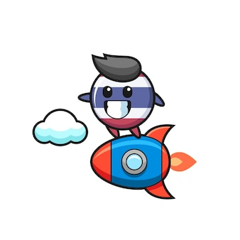 Personagem mascote do emblema da bandeira da tailândia montando um foguete, design de estilo fofo para camiseta, adesivo, elemento de logotipo