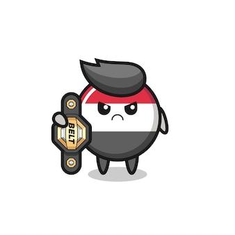 Personagem mascote do emblema da bandeira do iêmen como lutador de mma com o cinto de campeão, design de estilo fofo para camiseta, adesivo, elemento de logotipo