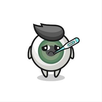 Personagem mascote do globo ocular com febre, design de estilo fofo para camiseta, adesivo, elemento de logotipo