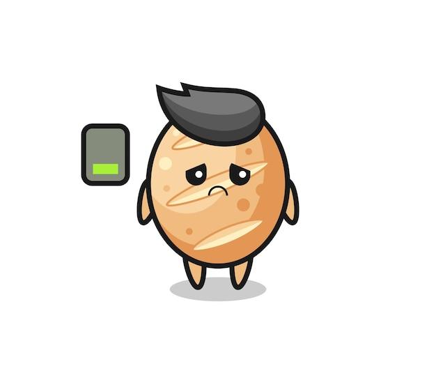 Personagem mascote do pão francês fazendo um gesto cansado, design fofo