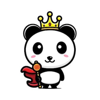 Personagem mascote do rei panda fofo