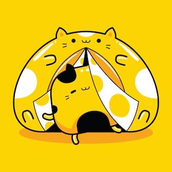 Personagem mascote gato fofo acampando em estilo cartoon plana