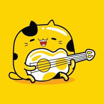 Personagem mascote gato fofo tocando guitarra em estilo cartoon plana