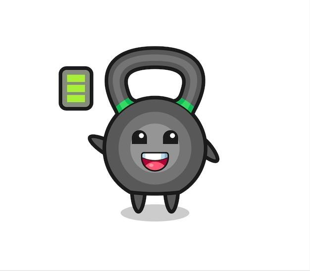 Personagem mascote kettlebell com gesto enérgico, design de estilo fofo para camiseta, adesivo, elemento de logotipo
