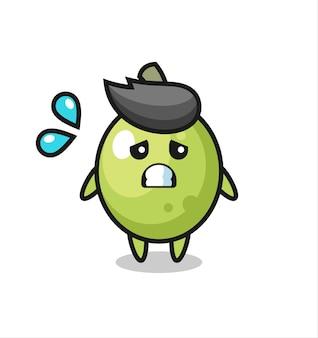 Personagem mascote verde-oliva com gesto de medo, design de estilo fofo para camiseta, adesivo, elemento de logotipo