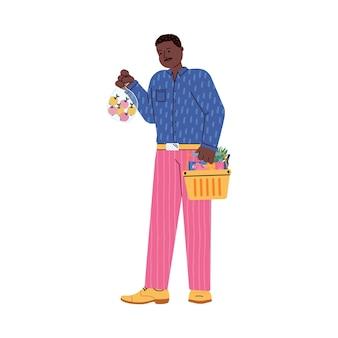 Personagem masculina de comprador de supermercado ou ilustração em vetor plana comprador isolada