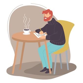 Personagem masculina desenhando esboços no caderno de desenho, sentado no café ou restaurante, bebendo uma xícara de café ou chá. passatempo criativo do homem, artista em busca de inspiração. oficina de pintura. vector no plano