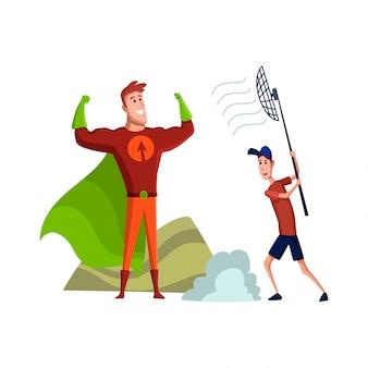 Personagem masculina plana de ator profissional. ilustração dos desenhos animados plana pessoa de tv no trabalho. ator com ajudante