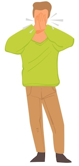 Personagem masculina tossindo e espirrando, homem isolado com sintomas de doenças respiratórias. alergia ou problema de saúde. situação de pandemia, cara cobrindo a boca com as mãos, vetor em estilo simples