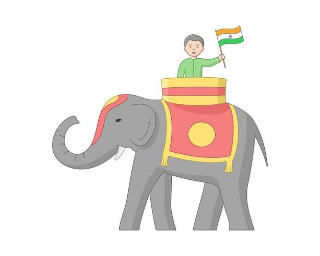 Personagem masculino com a bandeira da índia em sua mão andando de elefante. homem indiano e animal com esboço. composição do vetor dos desenhos animados. objetos lineares clip-art. imagem do conceito patriótico.