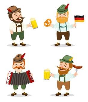 Personagem masculino da oktoberfest celebrando ilustração alemã