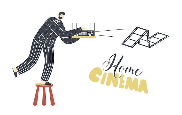 Personagem masculino de pijama e chinelos sintoniza o projetor de cinema doméstico para assistir filmes no fim de semana