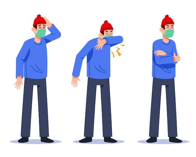 Personagem masculino de sintomas de gripe