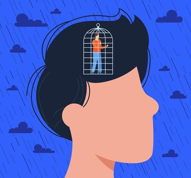 Personagem masculino deprimido e plano de desenho animado dentro de uma cabeça humana