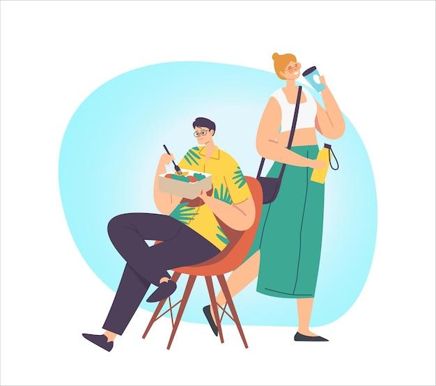 Personagem masculino e feminino bebendo café, comendo uso de alimentos pacote de reciclagem de resíduos zero