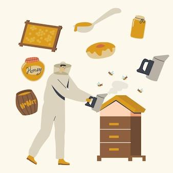 Personagem masculino em uniforme de proteção e chapéu, cuidando de abelhas fumando colmeia com favos de mel.
