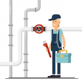 Personagem masculino encanador legal em pé segurando a ferramenta