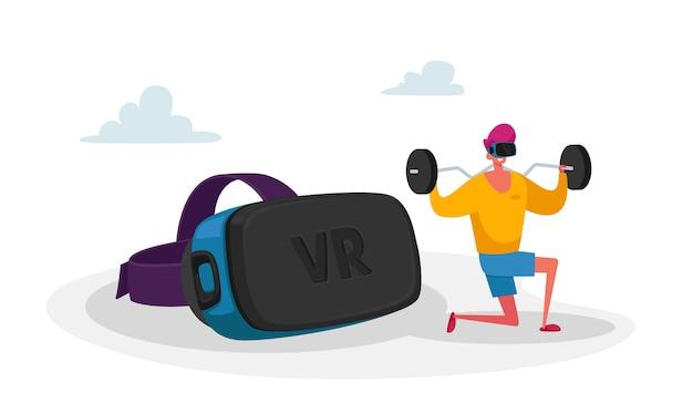 Personagem masculino esportivo com fone de ouvido de realidade virtual fazendo agachamento com halteres na academia